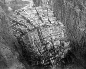 Columns of Hoover Dam being filled with concrete, February 1934 (looking upstream from the Nevada rim). Bureau of Reclamation. Via Wikipedia.