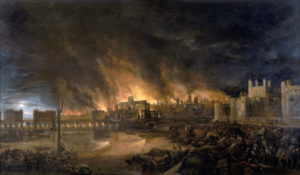 """Detail of the Great Fire of London by an unknown painter, depicting the fire as it would have appeared on the evening of Tuesday, 4 September 1666 from a boat in the vicinity of Tower Wharf. The Tower of London is on the right and London Bridge on the left, with St Paul's Cathedral in the distance, surrounded by the tallest flames. http://www.museumoflondonprints.com/image.php?id=64964&idx=12&fromsearch=true. """"This painting shows the great fire of London as seen from a boat in vicinity of Tower Wharf. The painting depicts Old London Bridge, various houses, a drawbridge and wooden parapet, the churches of St Dunstan-in-the-West and St Bride's, All Hallow's the Great, Old St Paul's, St Magnus the Martyr, St Lawrence Pountney, St Mary-le-Bow, St Dunstan-in-the East and Tower of London. The painting is in the [style] of the Dutch School and is not dated or signed."""" Permission details This file is in the public domain, because The painting itself is thought to be from the 17th century, and so in the public domain. In case this is not legally possible: The right to use this work is granted to anyone for any purpose, without any conditions, unless such conditions are required by law. Please verify that the reason given above complies with Commons' licensing policy.View more Public Domainview terms File:Great Fire London.jpg Created: 31 December 1699."""