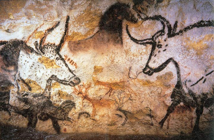 Cave painting of Aurochs, horses, and deer at Lascaux. Via Wikipedia.
