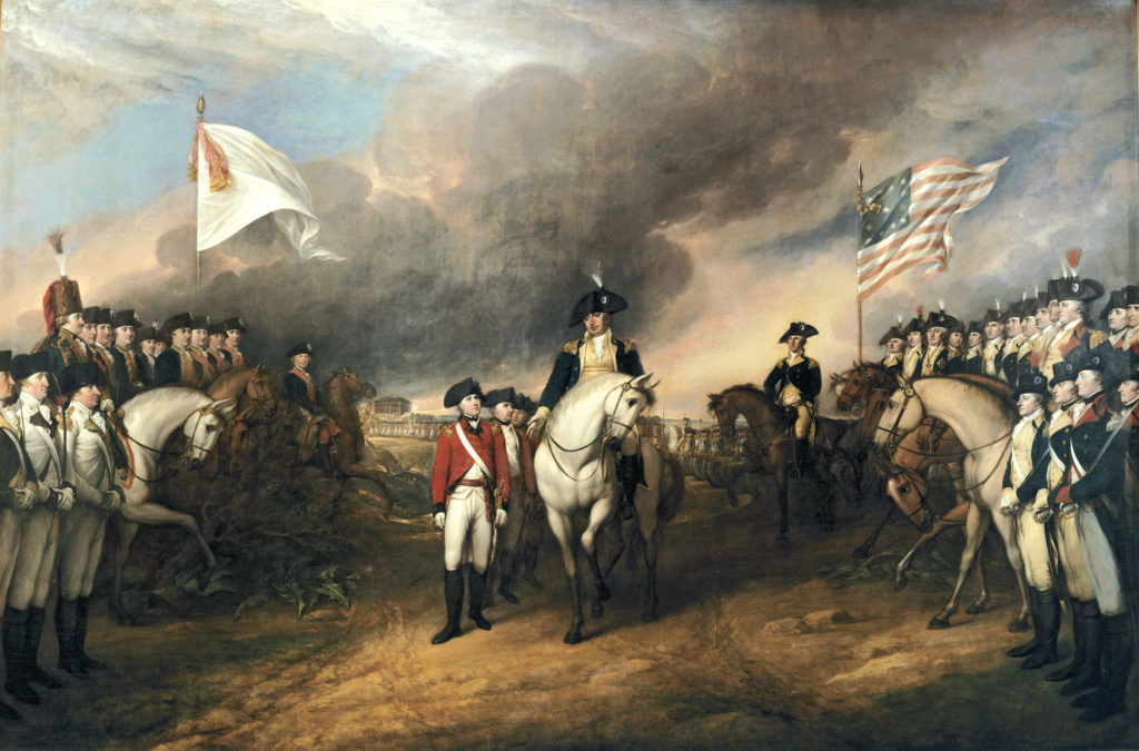 This painting depicts the forces of British Major General Charles Cornwallis, 1st Marquess Cornwallis (1738-1805) (who was not himself present at the surrender), surrendering to French and American forces after the Siege of Yorktown (September 28 – October 19, 1781) during the American Revolutionary War. The United States government commissioned Trumbull to paint patriotic paintings, including this piece, for them in 1817, paying for the piece in 1820.