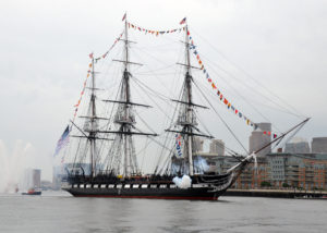 BOSTON (July 4, 2014) USS Constitution fires a 17-gun salute near U.S. Coast Guard Base Boston during the ship's Independence Day underway demonstration in Boston Harbor. Constitution got underway with more than 300 guests to celebrate America's independence. (U.S. Navy photo by Seaman Matthew R. Fairchild/Released) 140704-N-OG138-866