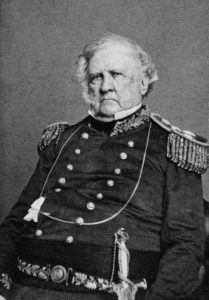 This picture of Lieut. Gen. Winfield Scott was made at West Point, N.Y., June 10, 1862. The subscribers claim that, for correctness of portraiture, finish and detail, it is pre-eminently the best portrait of the Great American Military Chieftain. Via Wikipedia.