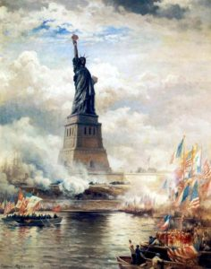 Unveiling of the Statue of Liberty Enlightening the World (1886) by Edward Moran. Oil on canvas. The J. Clarence Davies Collection, Museum of the City of New York.